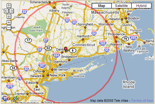 100 Mile Radius Map ~ GOOGLESAIL  Mile Radius Map on