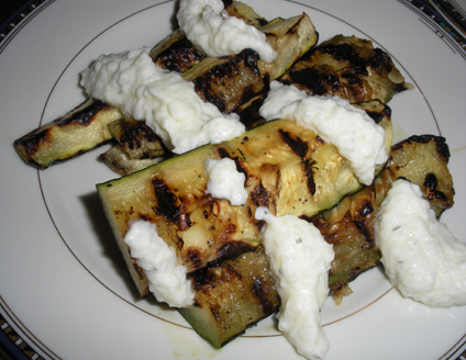 Grilled zucchini with Tzatziki sauce