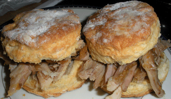 Pulled pork on biscuits (pork from Rowland Farm in Oxford, CT